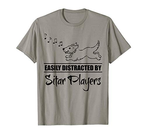 Running Dog Easily Distracted by Sitar Players Fun Whimsical T-Shirt