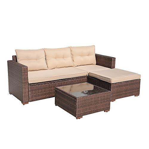 SUNSITT Outdoor Furniture Sectional Sofa (4 Piece Set) All Weather Brown Wicker with Beige Seat Cushions, Ottoman & Glass Coffee Table | Patio, Backyard, Pool