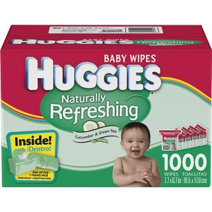 HUGGIES Naturally Refreshing Baby Wipes With Cucumber & Green Tea, 1000 Count, Bonus pop
