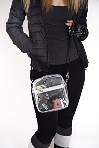 345b364e69 Amazon.com   Mariela Small Clear Crossbody Shoulder Messenger Bag for Women   Stadium Approved  Transparent PVC Purse for Football Games and  Concerts  NFL ...