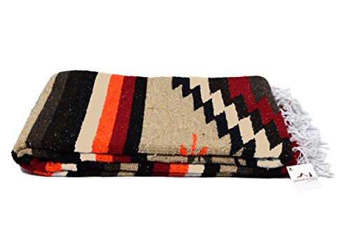 Open Road Goods Aztec Navajo Style Blanket, Throw, or Yoga Bolster - Handwoven Mexican Diamond Blanket - Brown