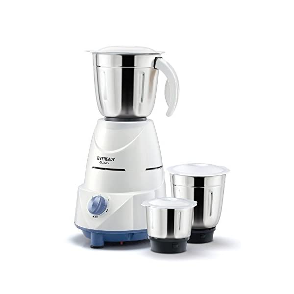 Eveready Glowy Mixer Grinder, 500W, 3 Jars (White and Blue)