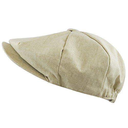 The Hat Depot Men's Linen Paisley Lining 8 Panel Applejack Gatsby Newsboy Ivy Hat (Khaki)