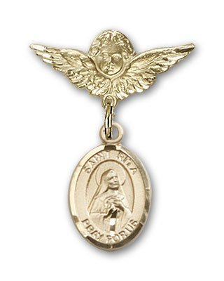 Baseball Angel Pin - 14K Gold Baby Badge with St. Rita Baseball Charm and Angel with Wings Badge Pin