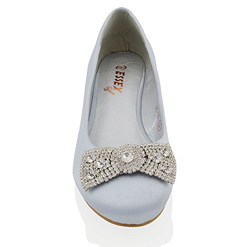 Bridal Evening Ladies Flat Dolly Brooch Jewelled Satin Silver Pumps Womens ESSEX Shoes GLAM Wedding wIStt4