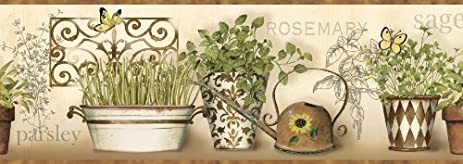 CKB77933B Kitchen Wallpaper Border / Modern Herbs Wall Border / Brown Trim