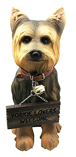 (Pedigree Yorkie Yorkshire Terrier Figurine With Jingle Collar and Sign Patio Welcome Decor Sculpture)