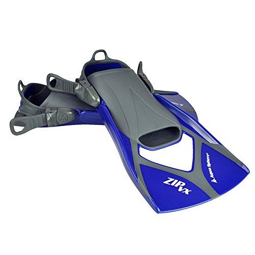Aqua Sphere Zip VX Fitness Swim Fins, Blue/Grey, Medium