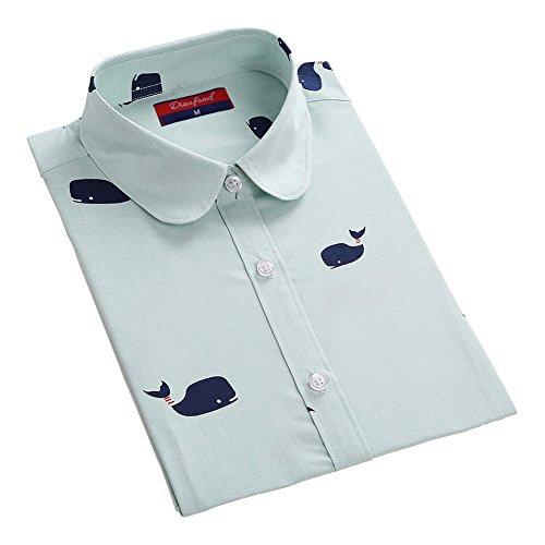 マークダウン熟読するあからさまDioufond 可愛い鯨柄 ブラウス 丸襟綿開襟 レディースファッション動物プリントシャツ