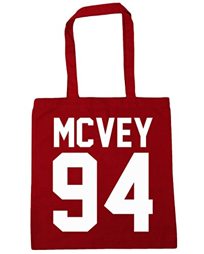 HippoWarehouse McVey 94(impreso en papel de la parte trasera) bolso de compras bolsa de gimnasio playa 42cm x38cm, 10litros Classic Red