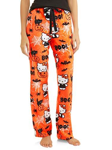 Hello Kitty Womens Halloween Minky Fleece Sleep Lounge Pajama Pants (Large -