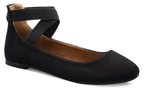 Comfy Flats Ballet (OLIVIA K Women's Elastic Cross Strap Slip On Sandal - Comfortable Closed Toe Ballet Flats - Low Ankle Strap Shoe)
