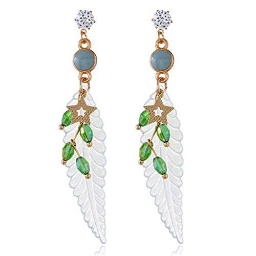 Topdo 4 Colors Women Girls' Fashion Long Leaf Beads Star Dangle Drop Earrings Alloy Personality Earrings-Green ()
