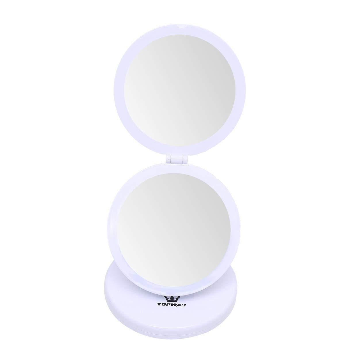Specchio da viaggio portatile a LED TOPWAY Specchio da trucco a LED portatile con luce