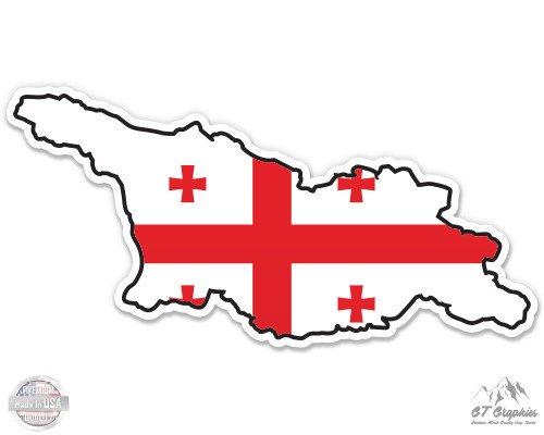 Stickers Georgia Flag (Georgia Map Flag Country Shape - 3