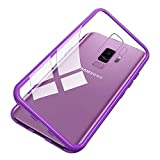 UNIYA Galaxy S9 Plus Magnetic Case, Tempered Glass Magnetic Metal Frame Aluminum Alloy Protective Case (Clear Purple)