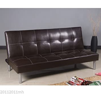 HomCom Convertible Faux Leather Sofa Bed Reclining Chair Home Furniture,  Brown