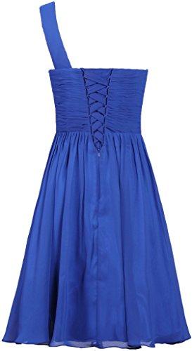 Royal Chiffon ANTS Dress Prom Dress Blue One Evening Short Women's Shoulder UqnwO5Wqz