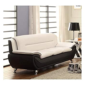 Amazon.com: Kingway Furniture Montac Faux Leather Living Room Sofa ...