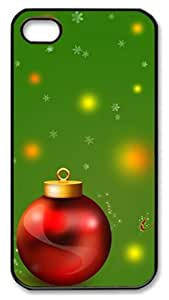 personalize iphone 4 cases Christmas decoration balls and green PC Black for Apple iPhone 4/4S