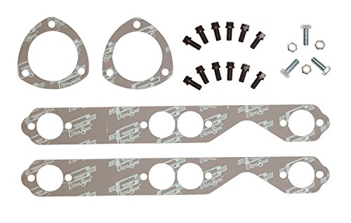 Mr. Gasket 7651G Header Install Kit; Incl. Header Exhaust/Collector Flange Gasket/Header And Collector Flange Bolts; Round Port; Small Block; (Chevy Block Gaskets Header Small)