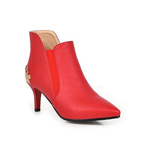 Allhqfashion Dames Pu Kitten-hakken Laarzen Met Metalen Afwerking, Rood, 35