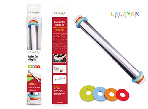 HOT SALE!Clearance!! LALAYAN Adjustable Rolling Pin With Thickness Rings Dough Roller For Cookie Pastry Pizza-17 inch Large Heavy Duty Stainless Steel French Style,CLEARANCE!!!