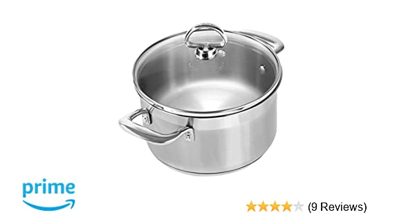 Amazon.com: Chantal SLIN32-160 Induction 21 Steel Soup Pot with Glass Tempered Lid (2-Quart): Kitchen & Dining