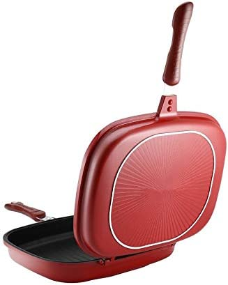 leanBonnie Poêle Double Face Anti-Adhésif Barbecue Outil De Cuisson Durable Et Fiable Cookware Convient pour La Maison en Plein Air-Rouge