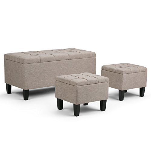 Dover 3 Piece Leather Ottoman Set, Natural