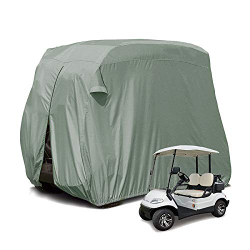 【2019 Upgraded】 2 Passenger Outdoor Golf Cart Cover for EZ GO, Club Car, Yamaha, Movaland Custom Cart Cover with 300D Material + Extra PVC Coating Waterproof Dust Prevention (Grey) ()