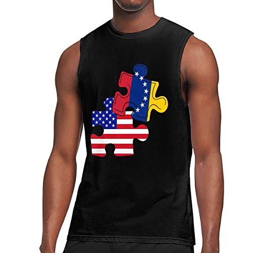 TETYU45 Venezuela American Flag Puzzle Piece Men Sleeveless Tank Tops Sports T-Shirt - Piece Tank Puzzle