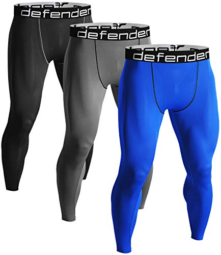 Defender Men's 3Pack Sports Compression Pants Under Jerseys Tights Shorts Fits Basketball BSGYBL_M