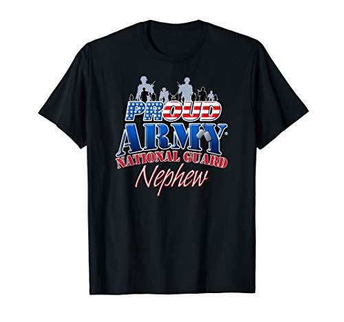 Proud Army National Guard Nephew US Dog Tag Shirt ()