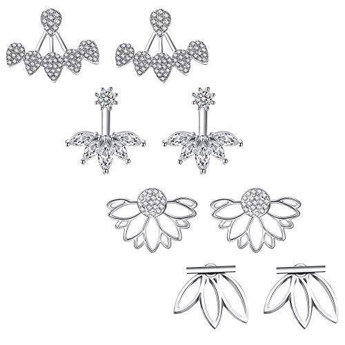 JieyueJewelry 4 Pairs Lotus Flower Earrings Stud Jacket Earrings Simple Chic Earrings Back Cuffs Stud Earring sets for Women Girls(Silver)