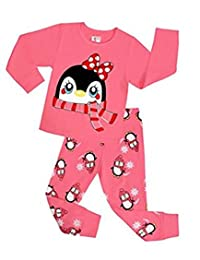 "Babylike ""penguin"" little girls 2 Piece Pajama 100% Cotton(Size 2-7 Years)"