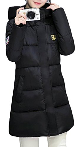 Women Slim Hooded Thicken Cotton Padded Coat Hoodies Black - 5