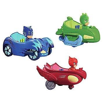 PJ Máscaras Paquete de Vehículos - Owl Glider, Gekko Mobile & Cat Car - 3