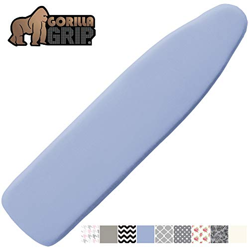 Gorilla Grip Reflective Silicone Ironing Board Cover, 15x54, Fits Large and Standard Boards, Pads Resist Scorching and Staining, Elastic Edge Covers, Thick Padding, No Fasteners Needed, Blue