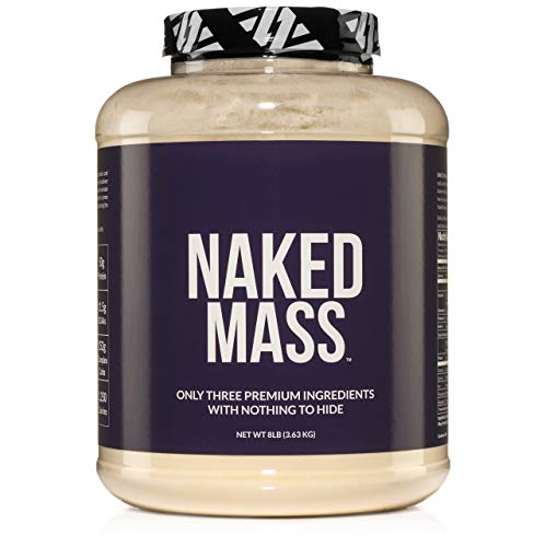 NAKED MASS - Natural Weight Gainer Protein Powder - 8lb Bulk, GMO Free, Gluten Free & Soy Free. No Artificial Ingredients - 1,250 Calories - 11 Servings ()