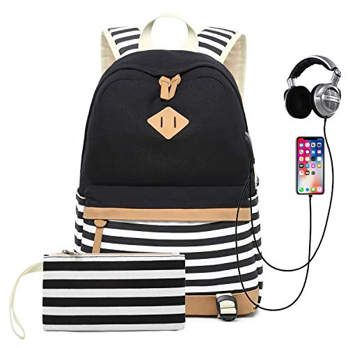 Teen Girls Backpack Canvas School Rucksack Student Travel Daypacks with USB Charging Port and Headset Port