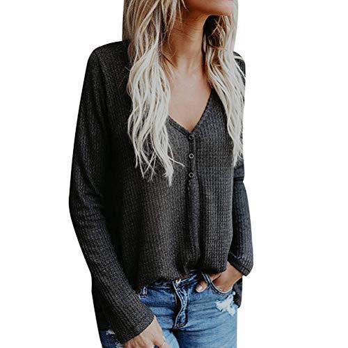 Kiess Women Henley Shirt V Neck Button up Tops Long Sleeve Blouse Knit Sweater Pullover Shirt [Grey ()