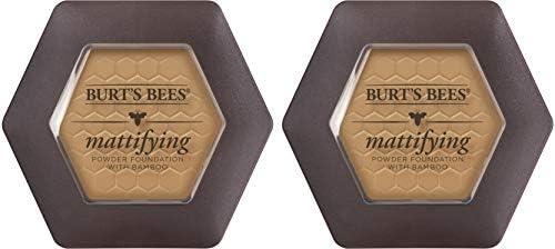 Burt's Bees 100% Natural Origin Mattifying Powder Foundation, Almond - 0.3 Ounce (Pack of 2)