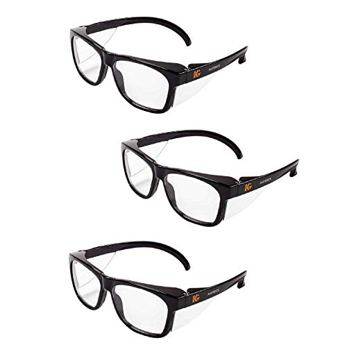 Kleenguard Maverick Safety Glasses with Intergrated Side Shields (3 Pair) (49309 Clear Anti-Fog Lens with Black Frame) (Maverick Glass)