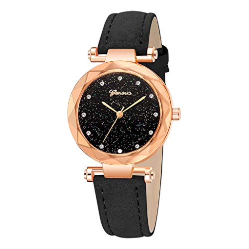 Londony✡Women's Watches Leather Rhinestone Inlaid Quartz Jelly Wristwatch Geneva Chronograph Watch with Crystals - 14k Quartz Watch Pocket