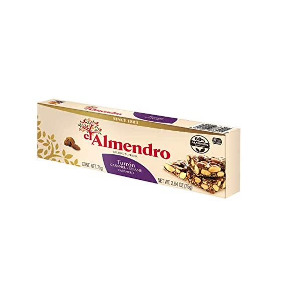 El Almendro Crunchy Almond Caramel Turron with Sesame Seeds Bar , 75g