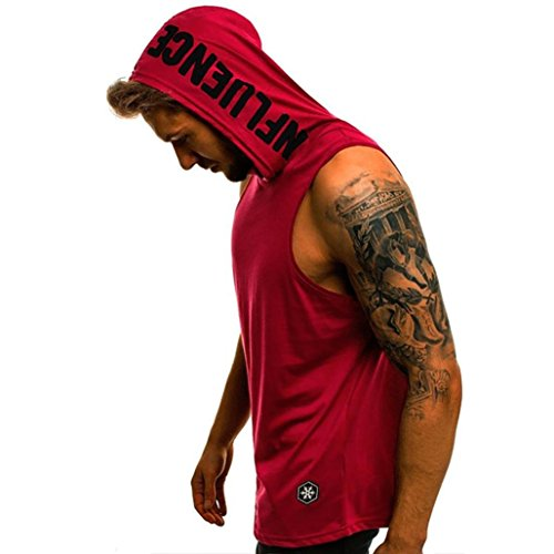 Vacally Men Casual Letter Printed Hoodie Sleeveless T Shirt Tank Top Vest ()