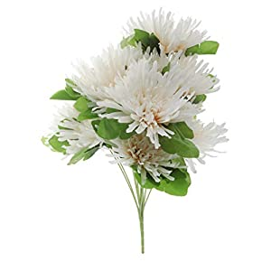 Prettyia Silk Grave Chrysanthemum Flower Bouquet Arrangement Cemetery Graveside Flowers Decoration - Champagne 66