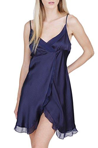 OSCAR ROSSA Women's Luxury Silk Sleepwear Babydoll Lingerie Nightgown 100% Silk Slip Chemise with Sexy Front Slit Midnight Blue ()