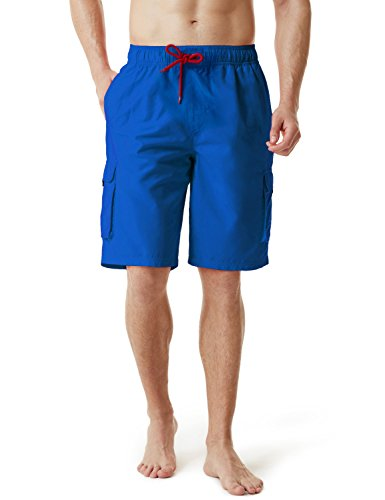 TSLA Men's 11 Inches Swimtrunks Quick Dry Water Beach, Solid(msb01) - Blue, X-Large.